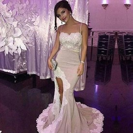 Trumpet/Mermaid Spaghetti Strap Evening Dress With Lace Embellished