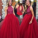 Show details for Burgundy Sleeveless Beaded Bodice Tulle Ball Gown With Keyhole Back