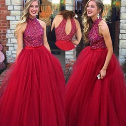 Burgundy Sleeveless Beaded Bodice Tulle Ball Gown With Keyhole Back