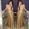 Show details for Elegant A-Line Long Sleeve Two Piece Prom Dress With Illusion Bodice