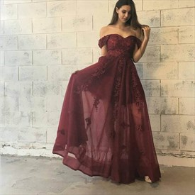 Burgundy Off-The-Shoulder A-Line Lace Applique Chiffon Long Prom Dress