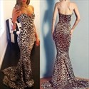 Floor-Length Mermaid Strapless Sweetheart Leopard Print Prom Dress