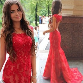 Red Cap Sleeve Mermaid Beaded Lace Long Prom Dress With Keyhole Back