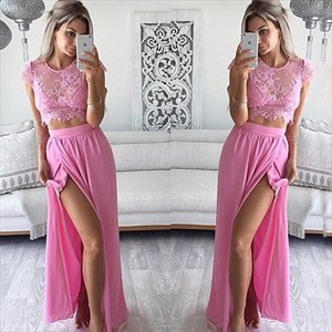 Hot Pink Cap Sleeve Lace Bodice Two Piece Chiffon Prom Dress With Slit