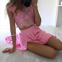 Show details for Hot Pink Cap Sleeve Lace Bodice Two Piece Chiffon Prom Dress With Slit