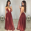 Deep V Neck Spaghetti Strap Sleeveless Backless Chiffon Evening Dress