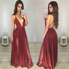 Deep V Neck Spaghetti Strap Sleeveless Backless Chiffon Evening Dress