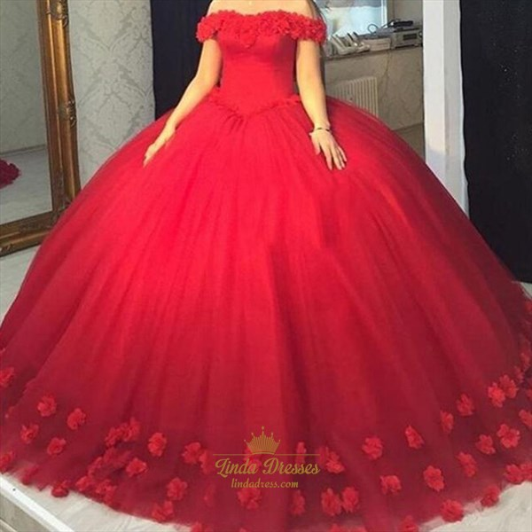 Red Off-The-Shoulder Tulle Floor-Length Ball Gown With Floral Applique