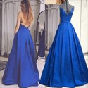 Show details for Royal Blue Spaghetti Strap V-Neck Backless A-Line Ruched Prom Dress