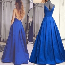 Royal Blue Spaghetti Strap V-Neck Backless A-Line Ruched Prom Dress