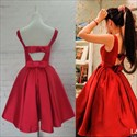 Show details for Red Simple Sleeveless Knee Length A-Line Ruched Satin Homecoming Dress