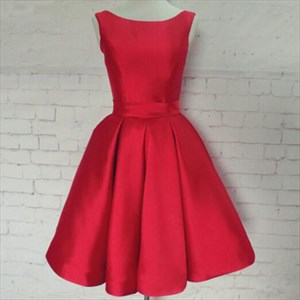 Red Simple Sleeveless Knee Length A-Line Ruched Satin Homecoming Dress