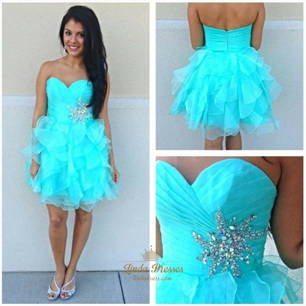Short Strapless Sweetheart Tulle Homecoming Dress With Ruffled Skirt