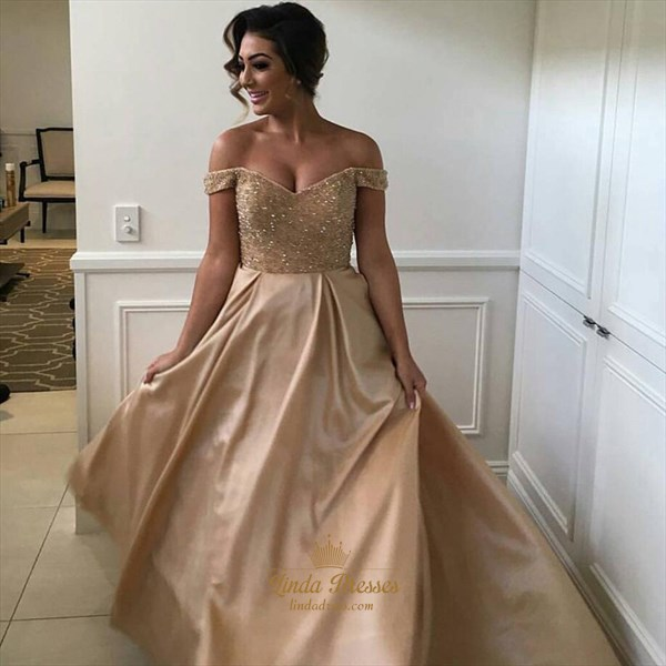 Champagne Off-The-Shoulder Sequin Bodice A-Line Floor Length Prom Gown