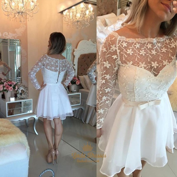 White A-Line Illusion Lace Bodice Long-Sleeve Short Homecoming Dress