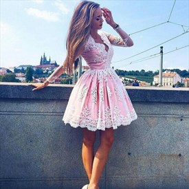 Pink Long Sleeve V-Neck A-Line Lace Embellished Short Homecoming Dress