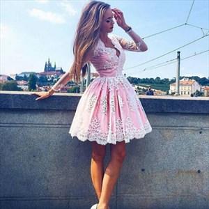 Pink Long Sleeve V-Neck A-Line Lace Embellished Short Homecoming Dress