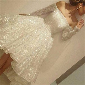 Sparkly Off The Shoulder Long Sleeve Tea Length High Low Evening Dress