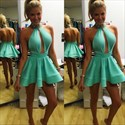 Cute High-Neck Jeweled Halter Backless A-Line Homecoming Mini Dress