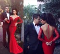 Show details for Elegant Long Sleeve Lace Chiffon Mermaid Prom Gown With Sheer Neckline
