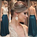 Elegant Sleeveless Floor Length Lace Evening Dress With Sheer Back