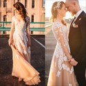 Floor Length Long Sleeve Lace Applique Embellished Tulle Prom Dress