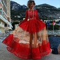 Vintage Red Long Sleeve A-Line Lace & Tulle Ball Gown Formal Dress