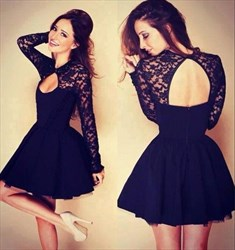 Lovely Long Sleeve A-Line Chiffon Little Black Dress With Lace Bodice