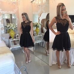Simple Elegant Sleeveless Lace Little Black Dress/Homecoming Dress