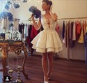 White Sleeveless A-Line Knee Length Applique Satin Homecoming Dress
