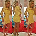 Elegant Yellow Short Lace Bodycon Cocktail Dress With Bell Sleeves