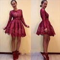 Show details for Vintage Burgundy Short A-Line Lace Homecoming Dress With Long Sleeves