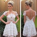Show details for White Illusion Knee Length Short Sleeve A-Line Lace Homecoming Dress