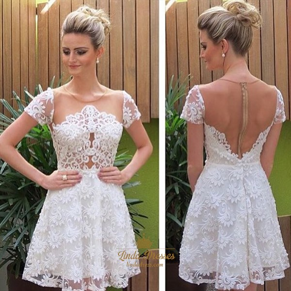 White Illusion Knee Length Short Sleeve A-Line Lace Homecoming Dress