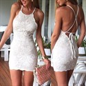 Show details for Spaghetti Strap Sleeveless Backless Lace Short Sheath Cocktail Dress