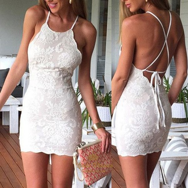 Spaghetti Strap Sleeveless Backless Lace Short Sheath Cocktail Dress