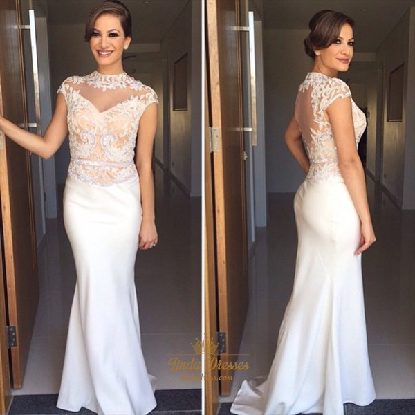 White Cap Sleeve Floor Length Evening Dress With Illusion Lace Bodice