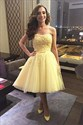 Yellow Tea Length Strapless Lace Bodice Tulle Skirt Homecoming Dress
