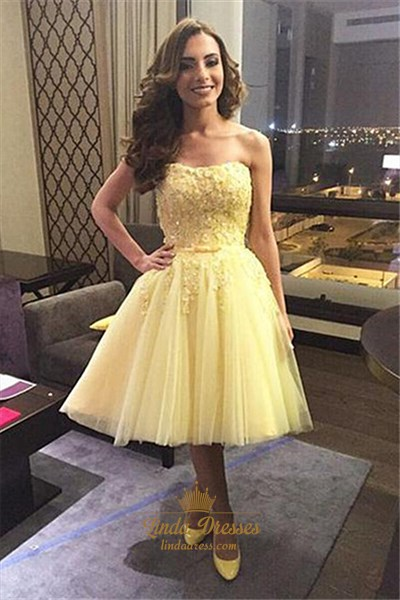 Show details for Yellow Tea Length Strapless Lace Bodice Tulle Skirt Homecoming Dress