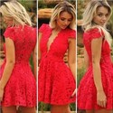 Lovely Red Lace Deep V Neck Cap Sleeve A-Line Short Homecoming Dress