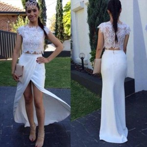 White Cap Sleeve Two Piece Lace Bodice Chiffon Prom Dress With Slit