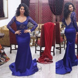 Royal Blue Mermaid Long Sleeve Lace Bodice Open Back Long Evening Gown