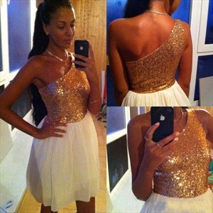One Shoulder A-Line Short Chiffon Cocktail Dress With Sequin Bodice