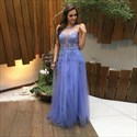 Sleeveless Illusion Lace Applique Tulle Floor Length A-Line Prom Dress