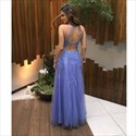 Show details for Sleeveless Illusion Lace Applique Tulle Floor Length A-Line Prom Dress