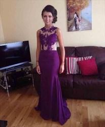Purple Sleeveless Mermaid Lace Embellished Chiffon Long Evening Dress