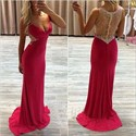 Red Sleeveless Illusion Jeweled Bodice V-Neck Floor-Length Prom Dress