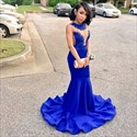 Illusion Sheer Lace Bodice Mermaid Royal Blue Sleeveless Evening Dress