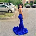Show details for Illusion Sheer Lace Bodice Mermaid Royal Blue Sleeveless Evening Dress