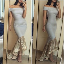 Off The Shoulder Drop Waist High Low Lace Bottom Mermaid Prom Dress